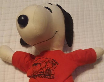 Vintage Snoopy Plush wearing Blue Jeans