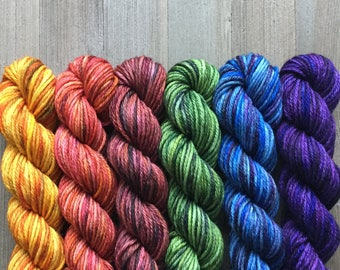 Hand Dyed Yarn, Worsted Weight 4ply, 100% Superwash Merino Wool, Deep Colors Mini Set on Hearty Worsted Yarn