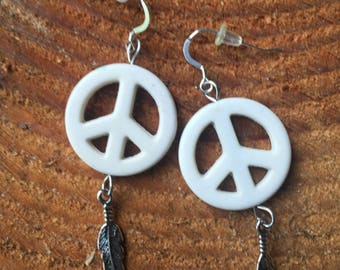 Feather Peace Sign Earrings Sterling Silver Handmade