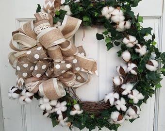 Grapevine cotton wreath