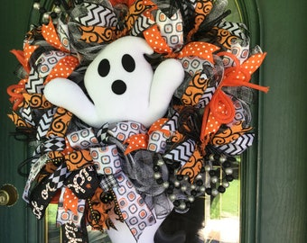 Halloween Ghost Mesh Wreath