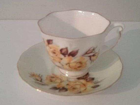 Vintage Colclough Yellow Flowers Bone China Tea Cup and Saucer, English Bone China Tea Cup and Saucer, Yellow Flower Colclough Tea Set,