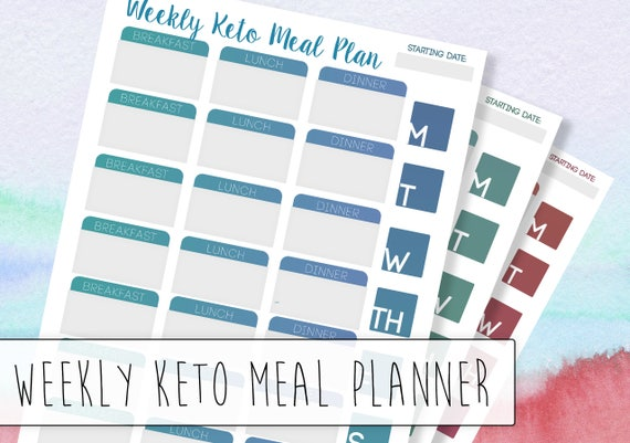 Weekly Keto Meal Planner A low carb / keto tracker that