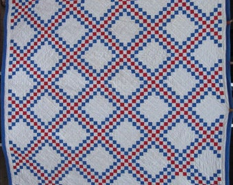 "Full/Queen Antique Quilt, ""Triple Irish Chain"" Vintage Quilt, Patriotic Red, White &Blue, Handmade, Hand Quilted Traditional Patchwork#17846"