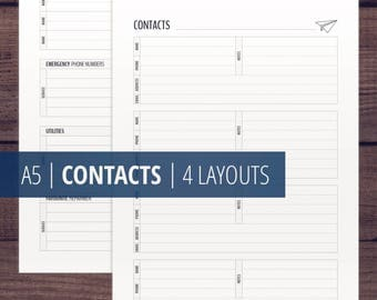 Contacts Page / Address Book Printable / Contact List / A5 Contacts Printable Inserts / Filofax Kikki k Inserts /  Contact List / Clean