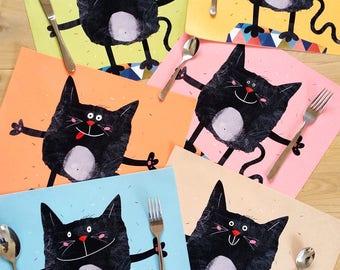 Placemats, 6 Placemat, Set, Place Mats for Kids, Birthday table decor, Cats Place Mat, Kids Place Mat, Birthday Mats, Table Decor, Funny