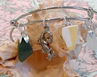 Maine Sea Glass, Pottery and Lizard Charm Bracelet