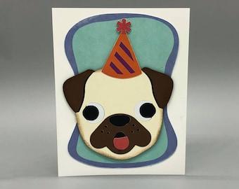 Pug Birthday Card | Funny Card | Pug Lover Birthday Card | Pug Pun Card | Happy PUGGIN Birthday | Punny Card