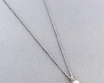 Silvertone Teardrop and Pearl Pendant Necklace