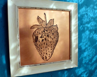 Strawberry Copper Etching | Framed Image | Wall Art | Freestanding Art | Etched Image