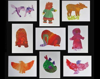Pick any two blank greeting cards. Alaskan Animal, Native Dancer art. Moose, musk ox, seal, fox, walrus, Inuit, Eskimo Child collage artwork
