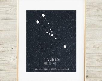 Taurus Constellation, Printable Taurus Art, Taurus Sign, Taurus Zodiac Art Print, Taurus Astrology, Taurus Constellation Print, Taurus Print