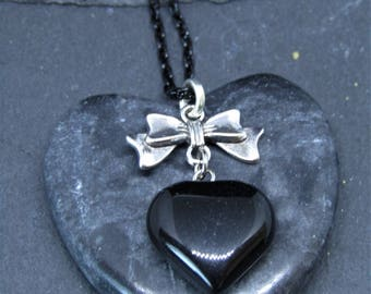 Black Onyx Heart and Bow Necklace, Black Heart Necklace, Black Onyx Jewellery, Cute Heart Necklace, Gemstone Jewellery, Black Stone Jewelry