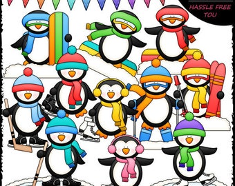 Winter Sports Penguins Clip Art and B&W Set