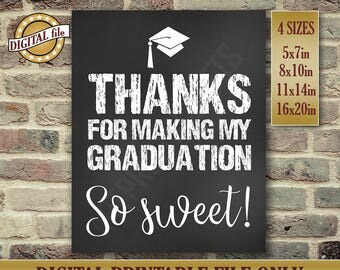 Graduation Gift, Graduation Party Sign, Thanks For Making, High School Diploma, PhD, High School Graduation Sign, Printable DIGITAL FILE