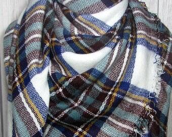 Most Popular,Trendy,Blanket Scarf,Triangle, Blue, Sage Green, Brown, White, Large Oversized Women's Winter Scarves, Zara Tartan Inspired