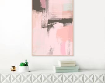 Blush Pink Abstract Art, Pale Pink and Brown Painting, Large Downloadable wall Art, Modern Printable Art, Original Art Print