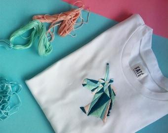 Women's cotton T-shirt with handmade unicorn