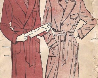 "Vintage 1940's Sewing Pattern Men's Dressing Gown Robe WWII Pockets M C 38""- 40"""