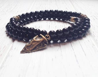 Black Tourmaline Beaded Necklace • Grounding Necklace • Christmas Gifts for boyfriend • Protection Necklace • Arrow Mala Necklace