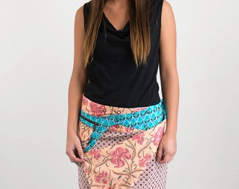 Reversible Cotton Skirt Orange Blue Print Detachable Pocket Medium Length