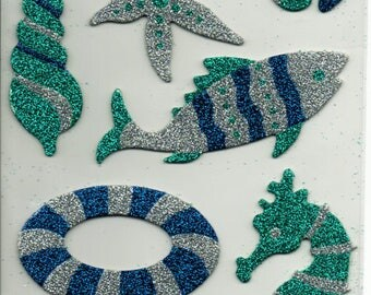 Beach Fun Lake Ocean Glitter Chipboard Scrapbook Stickers Embellishments Cardmaking Crafts Forever In Time