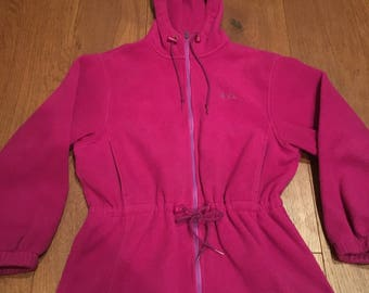 L.L. Bean Fleece cinch waist parka style jacket women's medium LL Bean retro fleece sweater