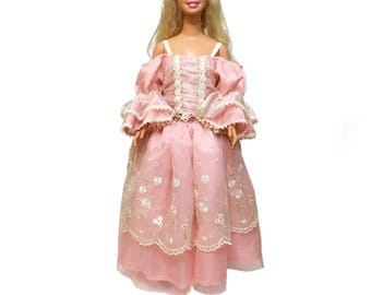 Vintage Just My Size Barbie, 38 inches tall with Size 4T vintage boutique gown, off the shoulder, Pink and cream, lace,  flared sleeves