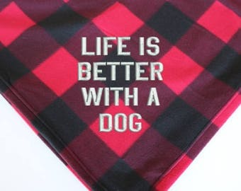 WITH A DOG (large blanket)     Life is better with a dog, Dog Mom, Dog Parent, Dog Lover, Dog Gift