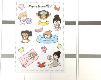 Summertime Fun - hand drawn matte planner stickers