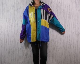 Vtg Jeantex Raincoat Windbreaker Festival Jacket