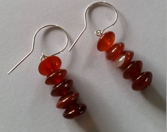 Silver Earrings with carnelian buttons