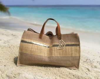 Maldives XXL tote bag - Burlap, natural raffia and gold sequin - H30xL55xl21 cm