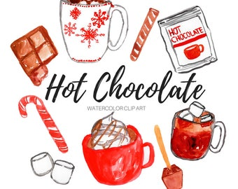 Watercolor clip art -Hot chocolate clip art - Winter clip art - Holiday clip art - Commercial Use
