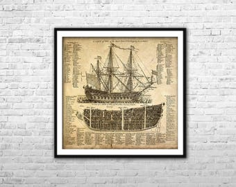 Etsy your place to buy and sell all things handmade pirate ship blueprint archival paper print canvas print warship poster british ship wall art home malvernweather Choice Image