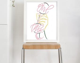 Girl Talk Print   Modern Calligraphy Print   Art + IllustrationPrint   Hand Lettered Print
