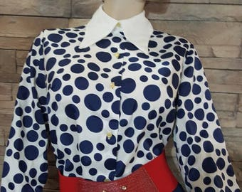 60s polka dot blouse ,retro blouse, buttoned shirt ,size 16 groovy blouse