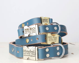 Personalized Engraved Buckle Blue Leather Dog Collar -- Classic Side Release Style