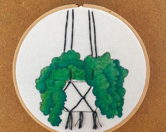 Hanging Planter Hand Embroidered Hanging Hoop Art