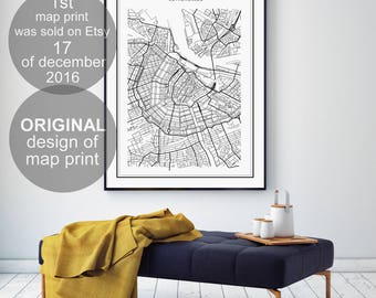 Amsterdam Map, Amsterdam City, Galadigitalprints, Amsterdam Kaart, Amsterdam Map Printable, Amsterdam, Netherlands, Holland