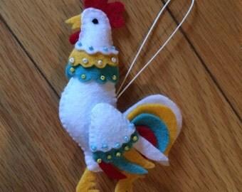 Handmade Felt Rooster Ornament