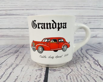 Vintage Grandpa Mug Cadillac Sixty Special 1938 Coffee Cup Novelty Retro Decor Break Time Tea Hot Beverages Gift Papel Japan Custom Card