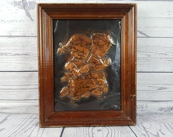 Vintage Praying Children Copper Plaque Embossed Wall Art Hanging Rustic 70s Wall Art Religious Gift Catholic Christian Baptism Confirmation