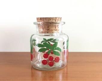 Glass years 70 storage with cork lid, motif cherries