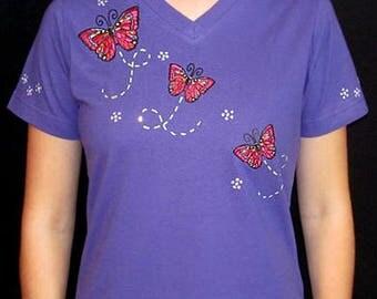 Embroidered Butterfly Butterflies Unique Custom Women's Cute Fun Glitter Cool Bling Bug V-neck T shirt Cindy's Handmade Shirts Boutique