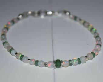 Dainty Emeralds and Opals Bracelet~ Mother's Bracelet~October and May Birthstone Bracelet~ Valentine's Day Gift~
