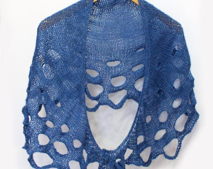 Knit shawl, knit scarf, crochet shawl, knitted scarf, shawl of mohair, knitted shawl,delicate shawl, blue shawl, lace shawl, handknit shawl
