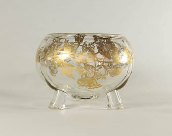 Viking Art Glass Flowerlite Clear w/ Gold Poppies - Footed Glass Bowl with Gold Flowers