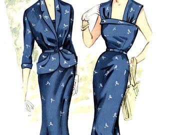 """Vintage 1952 dress suit pattern for 96cm/38"""" bust size."""