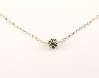 Vintage Chamilia Filigree Bead Pendant Rolo Chain Necklace 925 Sterling Silver NC 971